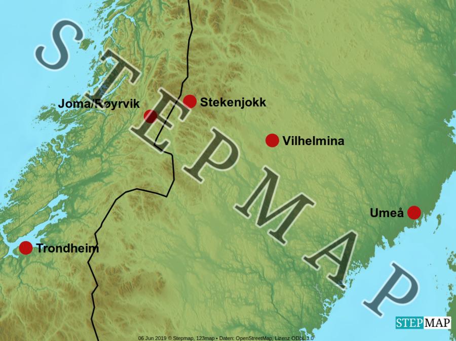 Landkarte: Kupfer Stekenjokk