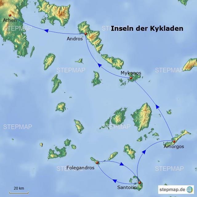 Kykladen Karte.Kykladen Von Hotterin Landkarte Für Griechenland