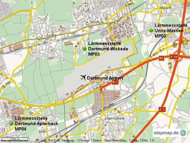 Lrmmessstellen des Dortmund Airport von DortmundAirport Landkarte