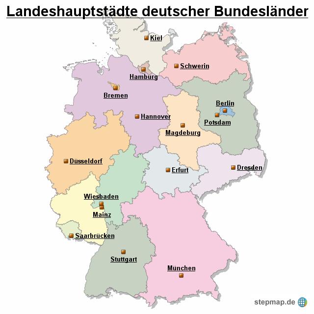landeshauptst dte deutscher bundesl nder von occi landkarte f r deutschland alle bundesl nder. Black Bedroom Furniture Sets. Home Design Ideas