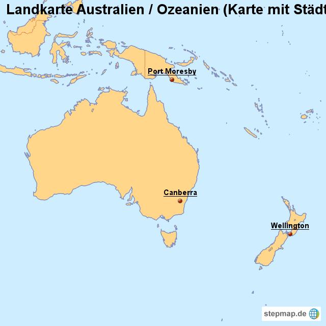 Landkarte Australien / Ozeanien (Karte mit Städten) von ...