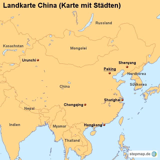 städte in china karte Landkarte China (Karte mit Städten) von länderkarte   Landkarte