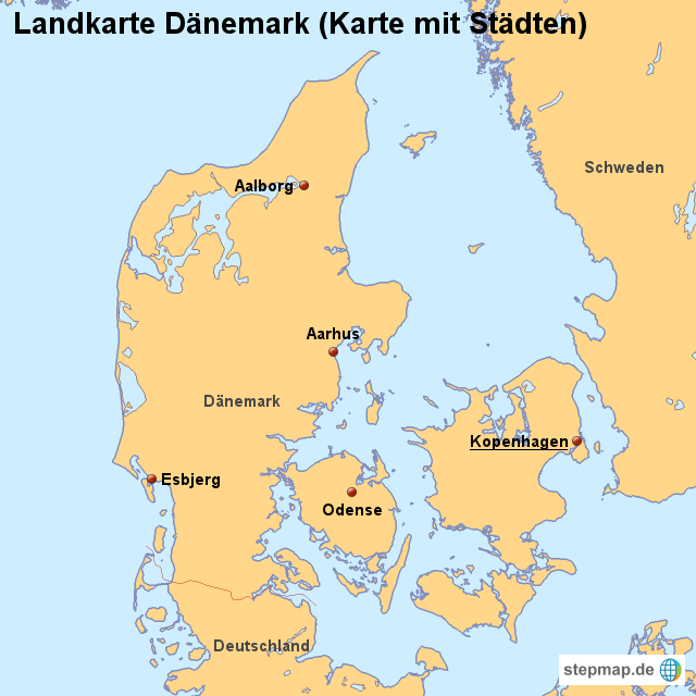 landkarte-daenemark-karte-mit- ...