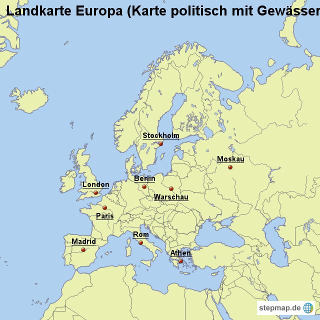 Landkarte Europa Karte Politisch Mit Gewässern Von Länderkarte