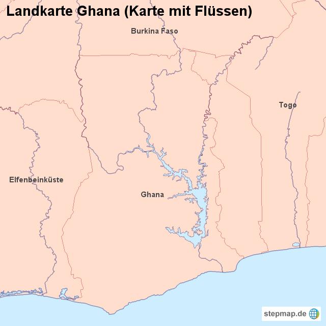 Ghana Karte.Landkarte Ghana Karte Mit Flussen Von Landerkarte