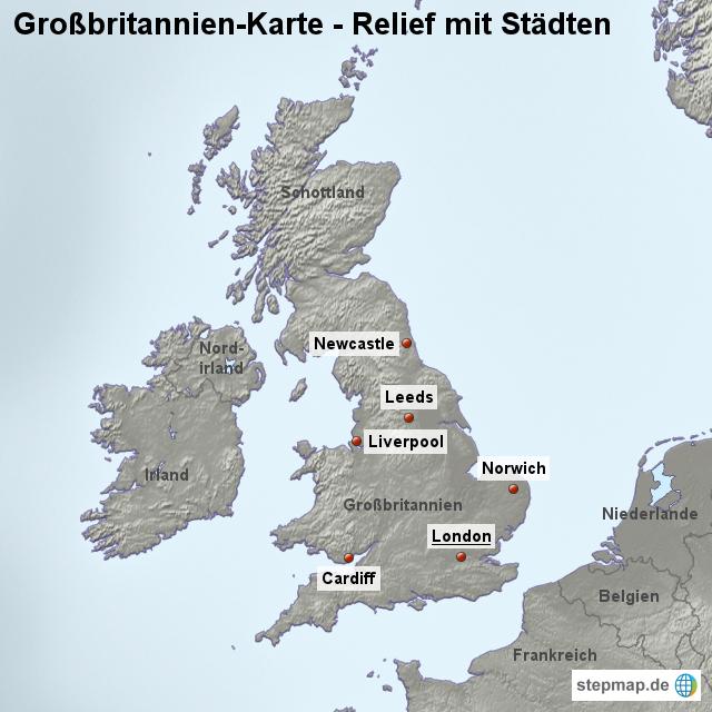Landkarte großbritannien relief mit städten