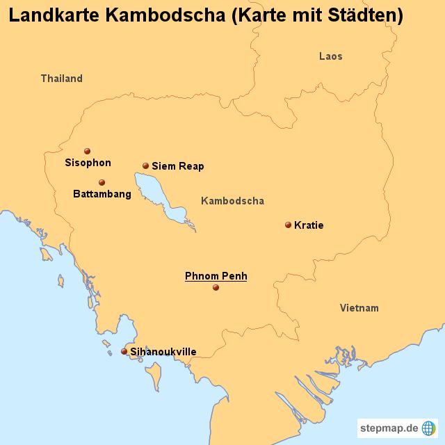 Kambodscha Karte.Landkarte Kambodscha Karte Mit Stadten Von Landerkarte