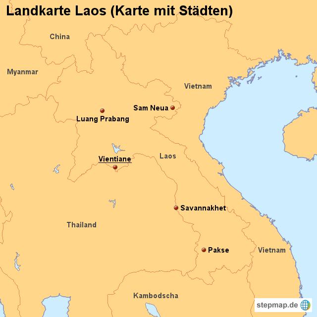 Laos Karte.Landkarte Laos Karte Mit Städten Von Länderkarte Landkarte Für Laos