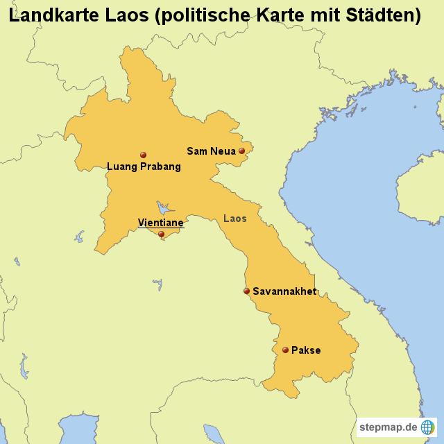 Laos Karte.Landkarte Laos Politische Karte Mit Städten Von Länderkarte