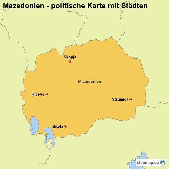 Landkarte Mazedonien (politische Karte mit Städten)