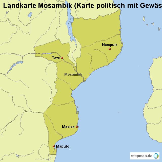 landkarte mosambik karte politisch mit gew ssern von l nderkarte landkarte f r mosambik. Black Bedroom Furniture Sets. Home Design Ideas