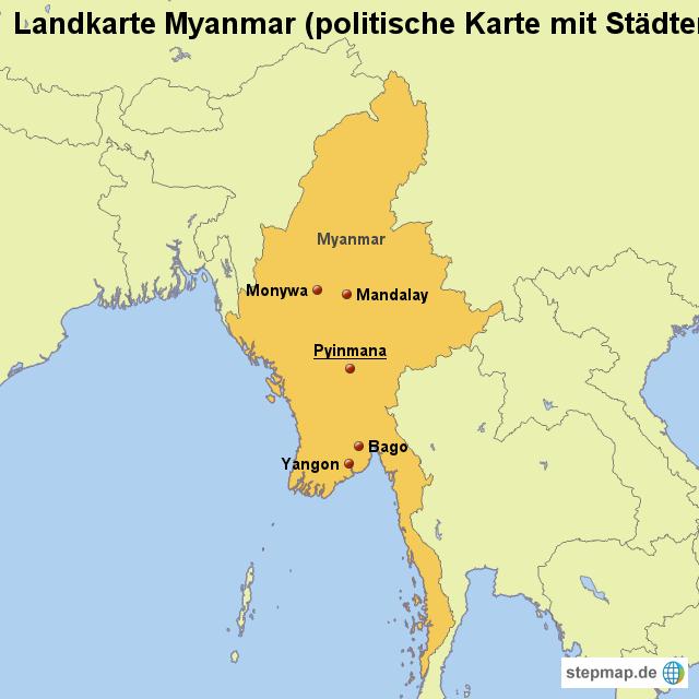 Karte Myanmar.Landkarte Myanmar Politische Karte Mit Städten Von Länderkarte