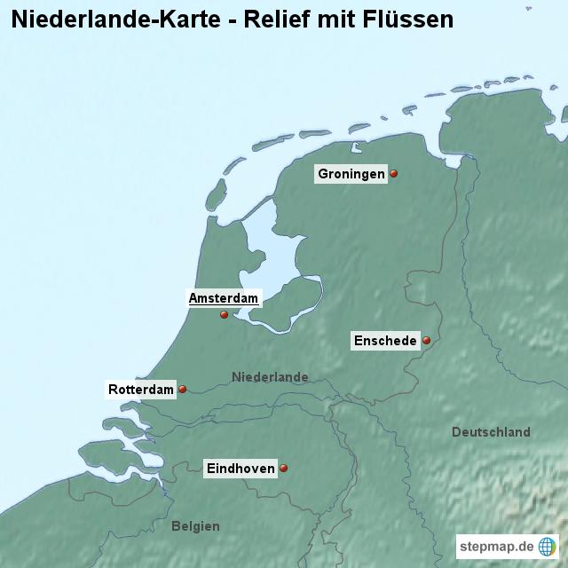 Niederlande Karte Umriss.Landkarte Niederlande Karte Mit Relief Und Flüssen Von Länderkarte