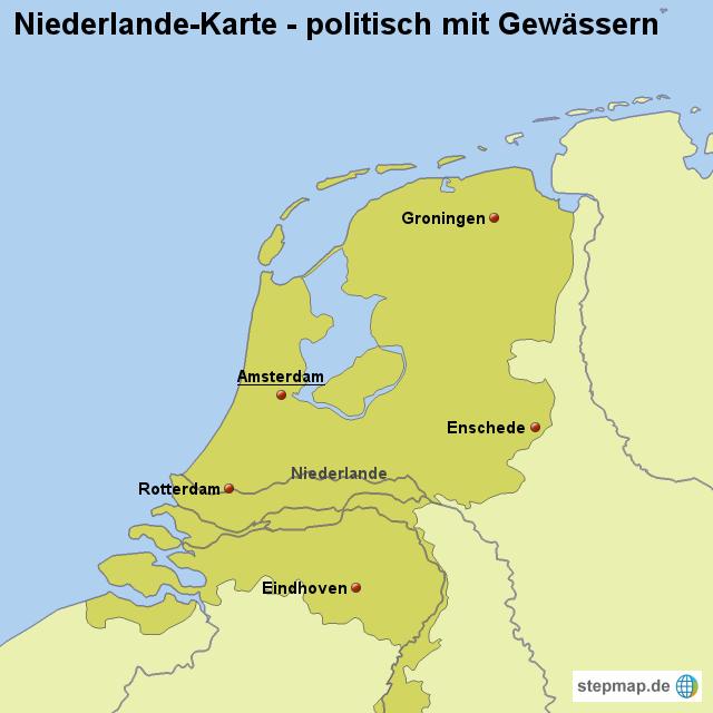 Niederlande Karte Umriss.Landkarte Niederlande Karte Politisch Mit Gewässern Von