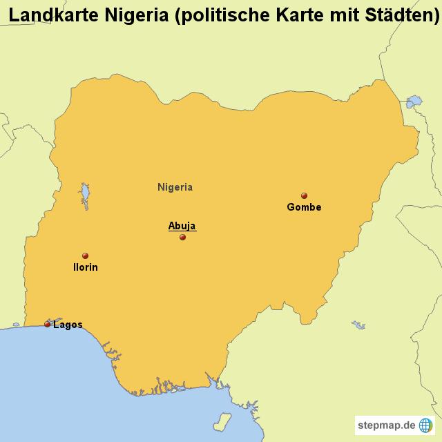 nigeria karte Landkarte Nigeria (politische Karte mit Städten) von länderkarte