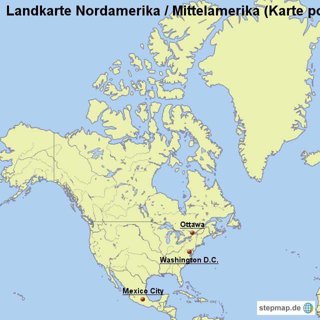 Karte Nordamerikas.Landkarte Nordamerika Mittelamerika Karte Politisch Mit Gewässern