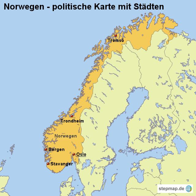 von - Landkarte für Norwegen WELTKARTE NORWEGEN
