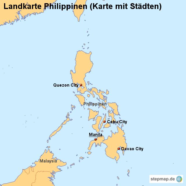 Karte Philippinen.Landkarte Philippinen Karte Mit Städten Von Länderkarte