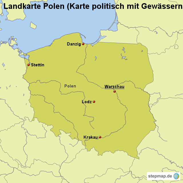 Polen Karte.Landkarte Polen Karte Politisch Mit Gewässern Von Länderkarte