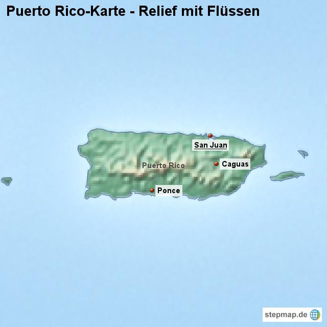 Landkarte Puerto Rico Karte mit Relief und Flssen von