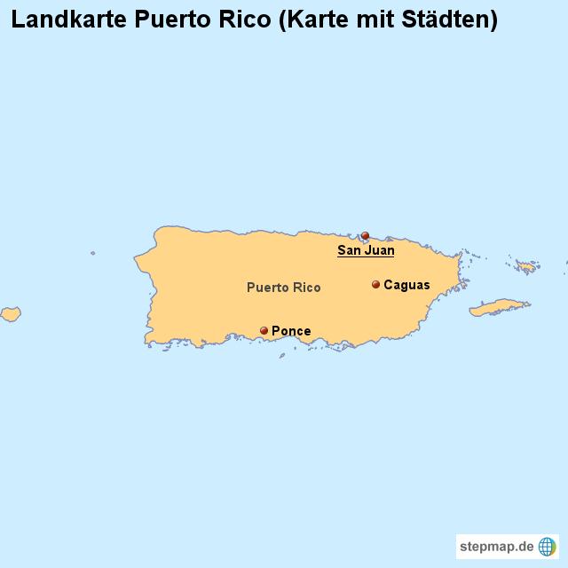 Landkarte Puerto Rico Karte mit Stdten von lnderkarte