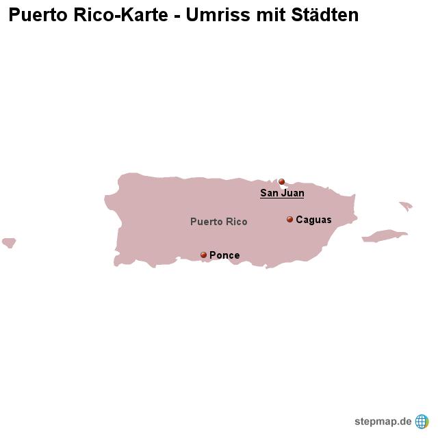Landkarte Puerto Rico Umriss mit Stdten von lnderkarte