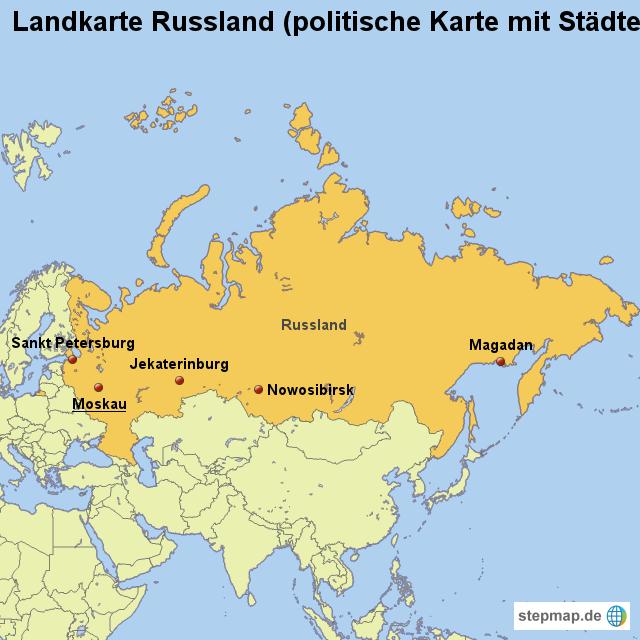 russland städte karte Landkarte Russland (politische Karte mit Städten) von länderkarte  russland städte karte