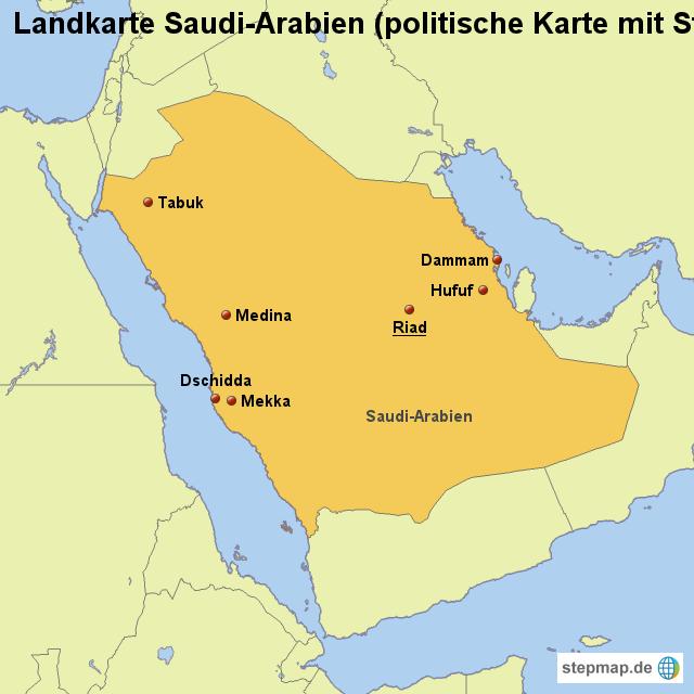 von - Landkarte für Saudi-Arabien SAUDI-ARABIEN KARTE