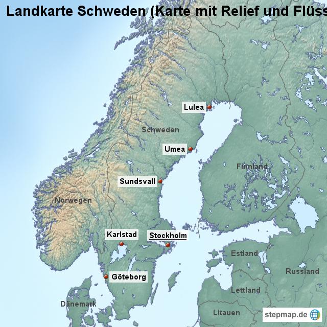 Landkarte Schweden Karte Mit Relief Und Fl 252 Ssen Von