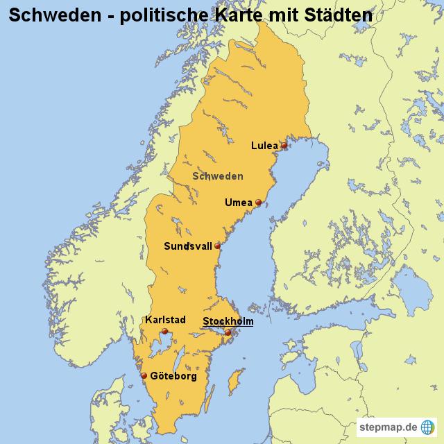 Schweden Karte Deutsch.Landkarte Schweden Politische Karte Mit Stadten Von