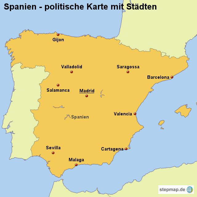 Spanien spanien karten landkarte spanien politische karte mit städten