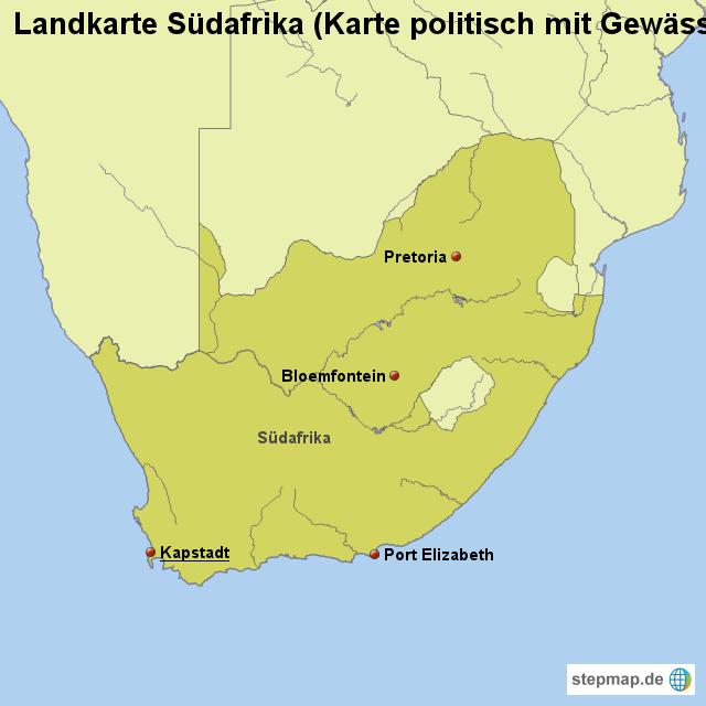 landkarte s dafrika karte politisch mit gew ssern von. Black Bedroom Furniture Sets. Home Design Ideas