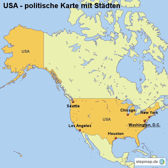 landkarte usa politische karte mit st dten von. Black Bedroom Furniture Sets. Home Design Ideas