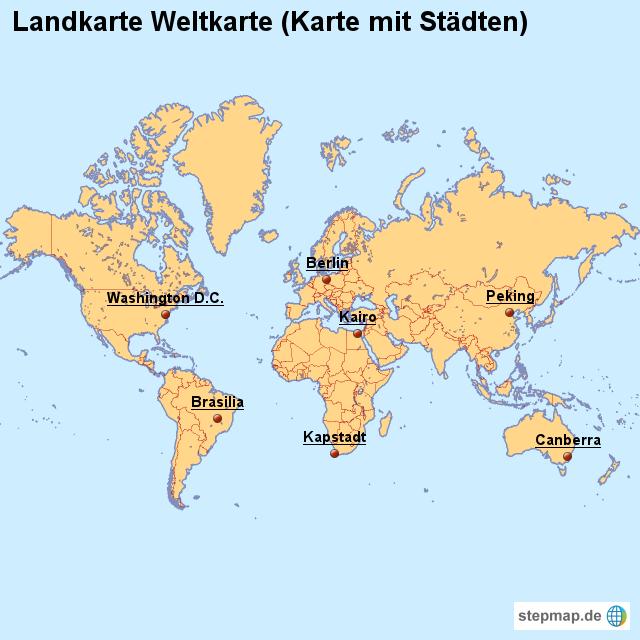 Landkarte Weltkarte (Karte mit Städten) von länderkarte ...