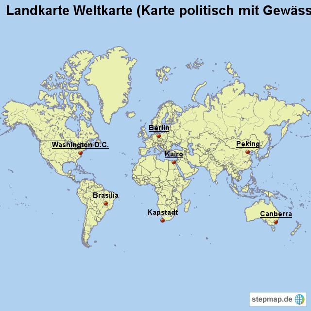 Landkarte Weltkarte (Karte politisch mit Gewässern) von ...
