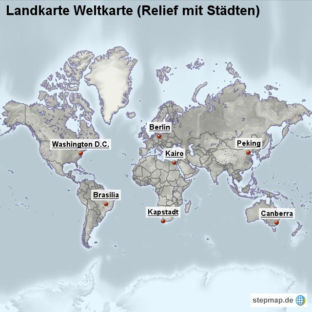 Landkarte weltkarte relief mit st dten von l nderkarte - Weltkarte mit fotos ...