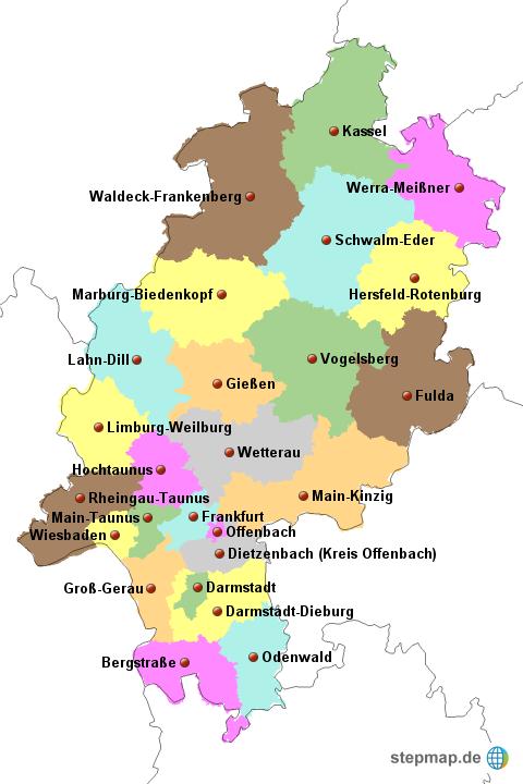 landkarte von hessen Landkreise Hessen von derFroehliche   Landkarte für Hessen landkarte von hessen