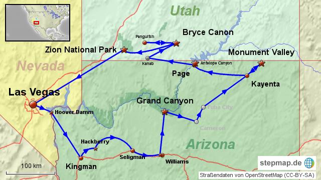 Las Vegas und Streifen und Karte