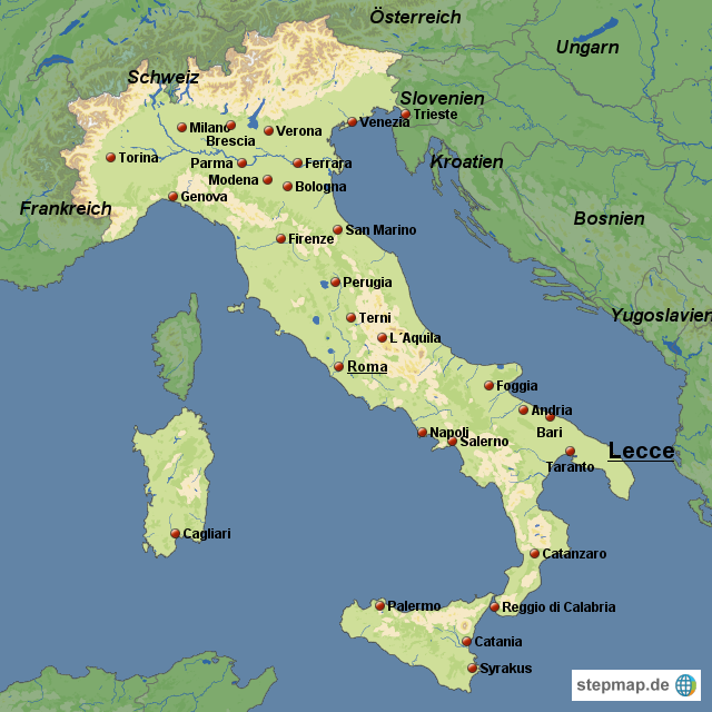 Startseite landkarten welt europa italien italien karten lecce