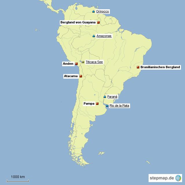 Lateinamerika Karte Gebirge.Stepmap Lernen Für Erdkunde 9 Klasse Landkarte Für Südamerika