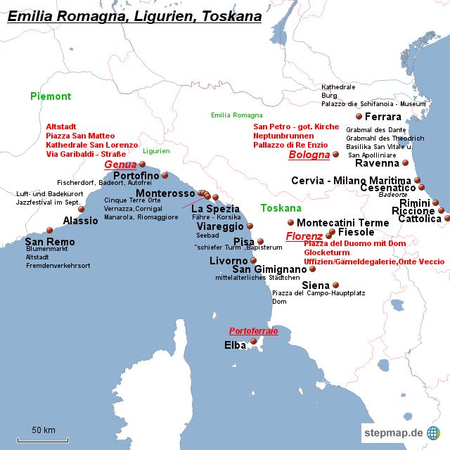 ligurien karte Landkarte Italien Ligurien | Kleve Landkarte