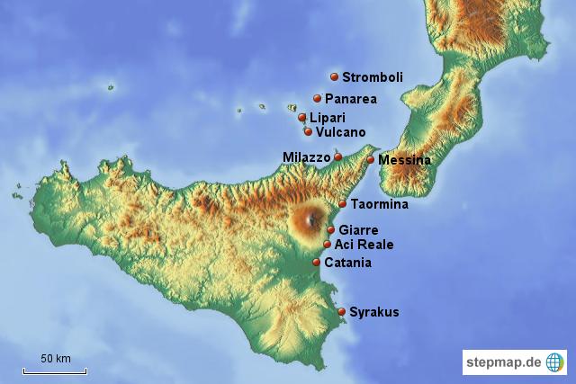 liparische inseln karte Liparische Inseln von diwidei   Landkarte für Sizilien