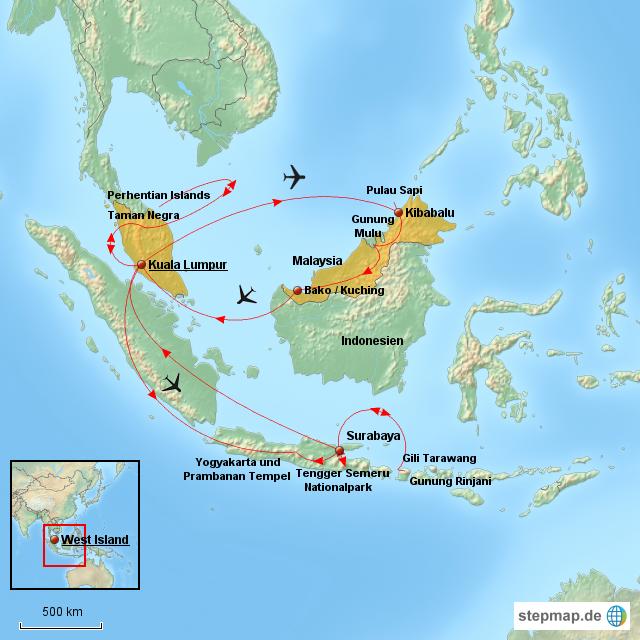 Malaysia map von Tobi-ooo - Landkarte für Deutschland