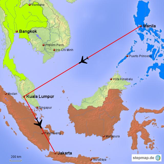 Manila-Kuala Lumpur-Jakarta von sterzmax - Landkarte für Asien