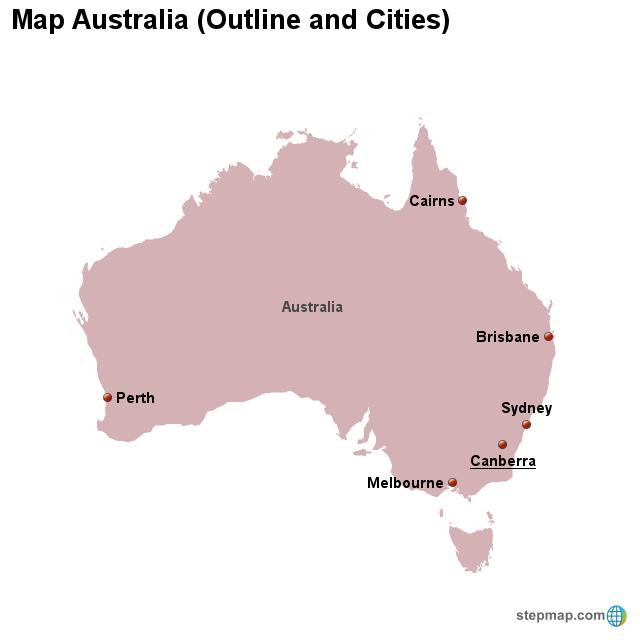 Map Australia (Outline and Cities) von countrymap - Landkarte für ...