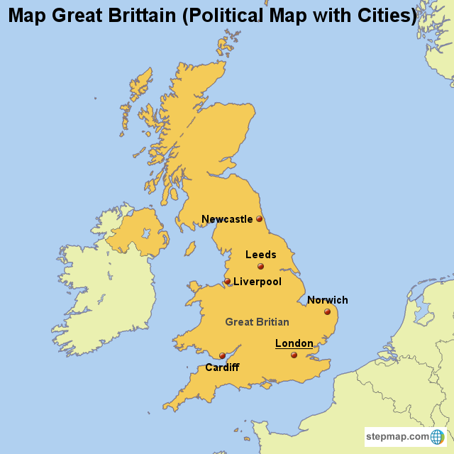Map Great Britain (Political Map with Cities) von countrymap ...