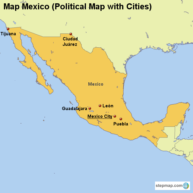 Map Mexico (Political Map with Cities) von countrymap - Landkarte ...