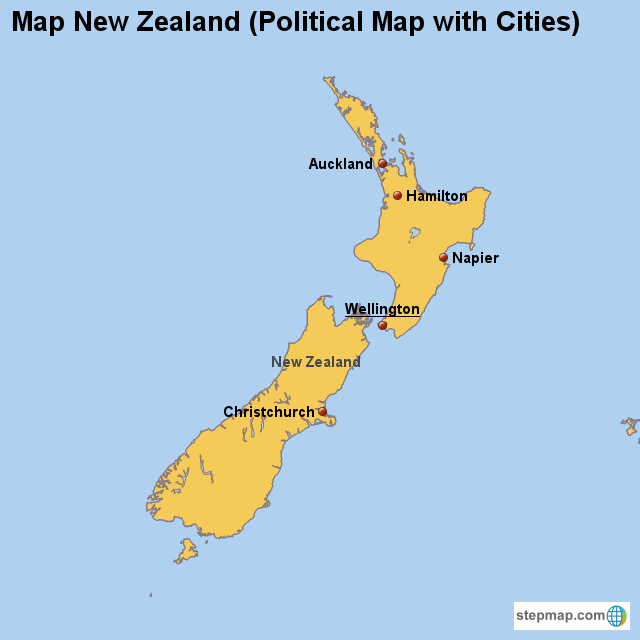 Map New Zealand (Political Map with Cities) von countrymap ...