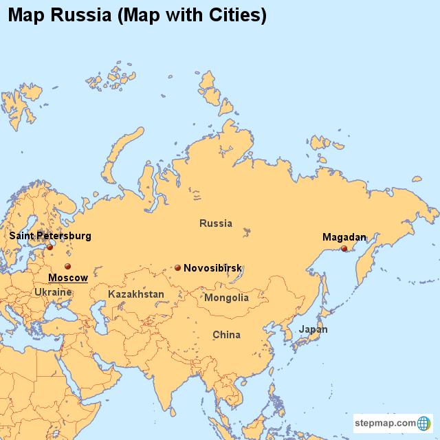 Map Russia (Map with Cities) von countrymap - Landkarte für Russland