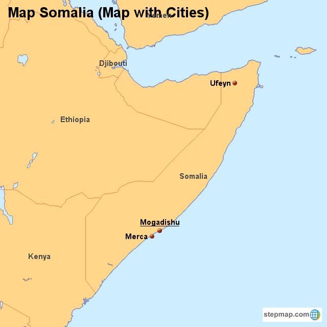 Map Somalia (Map with Cities) von countrymap - Landkarte für Somalia